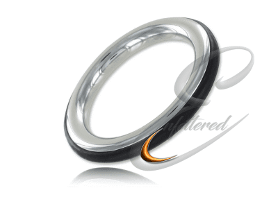 Stainless and Silicone Cock Ring Black